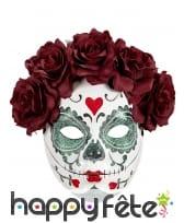 Masque facial Dia de los muertos avec roses, femme