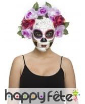 Masque facial Jour des morts fleuris pour adulte