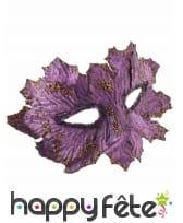 Masque feuille violet, en tissu, image 1