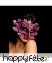 Masque feuille violet, en tissu