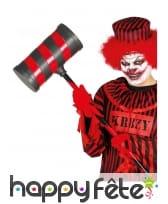 Marteau géant de clown rayé noir et rouge de 72 cm