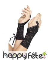 Mitaines glovettes noires lacées