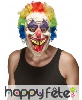 Masque horrible clown avec cheveux multicolores