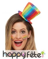 Mini haut-de-forme GayPride sur serre-tête, image 1