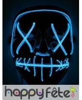 Masque Halloween led bleu lumineux, adulte