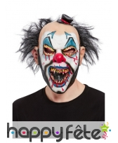 Masque intégral de clown tueur ensanglanté, adulte
