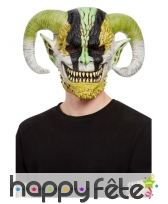 Masque intégral de diable à cornes tricolore