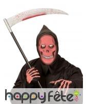 Masque intégral de la mort rouge phosphorescent, image 1