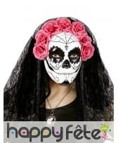 Masque intégral Dia de los muertos avec voile, image 1