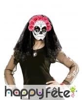 Masque intégral Dia de los muertos avec voile, image 2