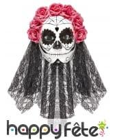 Masque intégral Dia de los muertos avec voile