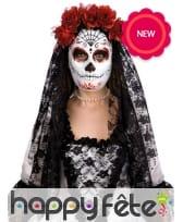Masque jour des morts avec voile noire