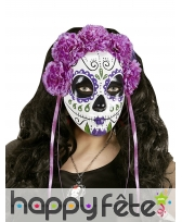 Masque Jour des morts violet avec roses et rubans, image 1