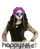 Masque Jour des morts violet avec roses et rubans, image 2