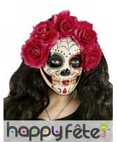 Masque Jours des morts avec roses rouges, image 1