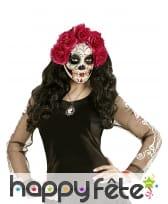 Masque Jours des morts avec roses rouges, image 2