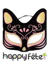 Masque loup de chat avec motifs rose, image 1