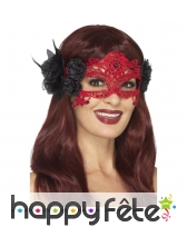 Masque loup rouge en filigrane avec roses