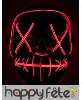 Masque lumineux rouge de Halloween pour adulte