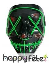 Masque led vert lumineux pour Halloween, adulte, image 1