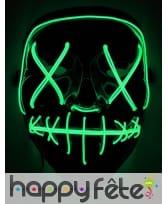 Masque led vert lumineux pour Halloween, adulte
