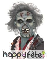 Masque latex zombie bleu