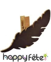 Marque-place pince dorée découpe plume noire