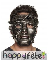 Masque Steampunk aspect métal avec engrenages