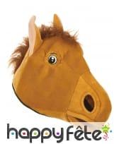 Masque tête de cheval marron pour adulte