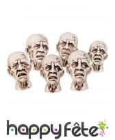 Mini têtes de zombies de 8cm