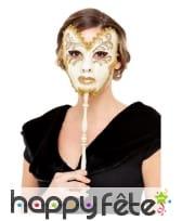 Masque vénitien avec baton, beige doré