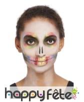 Maquillage visage Dia de los muertos multicolore, image 2
