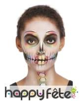 Maquillage visage Dia de los muertos multicolore, image 3