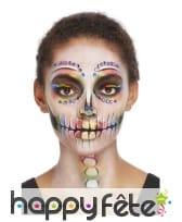 Maquillage visage Dia de los muertos multicolore, image 4