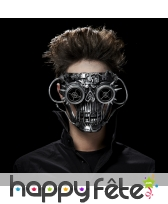 Masque visage robot tête de mort futuriste