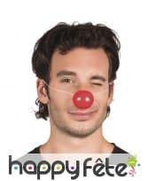 Nez de clown rouge sur élastique