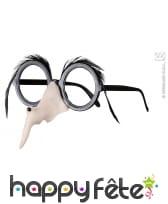 Nez de sorciere avec lunettes et sourcils