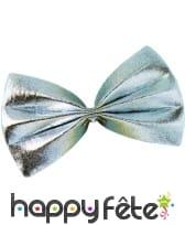 Noeud papillon argenté avec attache élastique