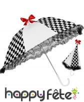 Ombrelle arlequin damier noir et blanc