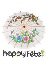 Ombrelle chinoise blanche avec imprimé coloré, image 1