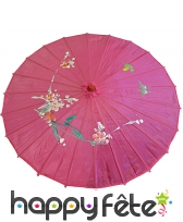 Ombrelle chinoise en tissu fuschia