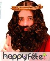Perruque avec barbe bouclée marron
