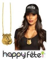 Pendentif avec insigne de police doré pour adulte, image 1