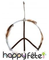 Peace and love métal bois plume à suspendre, 41cm