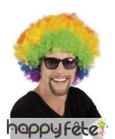 Perruque afro multicolore de clown