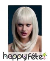 Perruque blonde à frange et mèches, 48cm