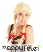 Perruque blonde avec tresses style écolière, image 1