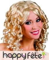 Perruque boucles anglaises blondes, mi-longue
