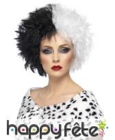 Perruque bicolore blanc noir de femme cruelle