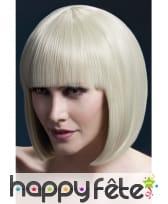 Perruque bob blonde élégante avec frange